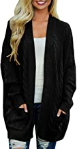 Arjungo Women's Boyfriend Open Front Long Sleeve Cable Knit Aran Twisted Cardigan Sweaters Coat with Pockets