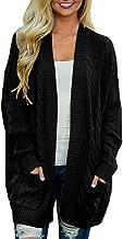 Arjungo Women's Oversize Open Front Long Sleeve Cardigan Sweaterst Cable Knit Boyfriend Loose Outwear with Pockets