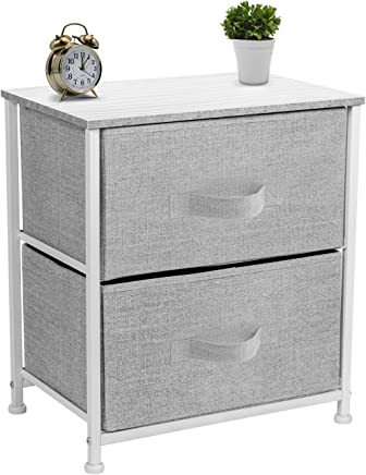 Sorbus Nightstand with 2 Drawers - Bedside Furniture & Accent End Table Chest for Home,  Bedroom Accessories,  Office,  College Dorm,  Steel Frame,  Wood Top,  Easy Pull Fabric Bins (White/Gray)