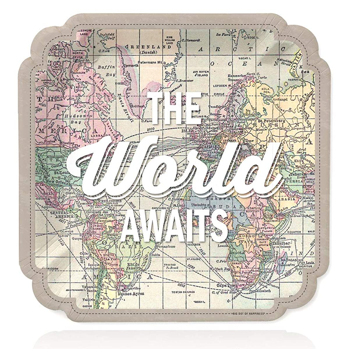 World Awaits - Travel Themed Party Dinner Plates - 16 Count