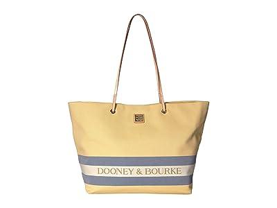 Dooney & Bourke Kittery Large Addison (Lemon/Navy/Natural Trim) Handbags