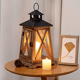SUJUN Decorative Rustic Wooden Candle Lantern with Handle, Small, Brown, Perfectly for Wedding, Party, Home Décor Large