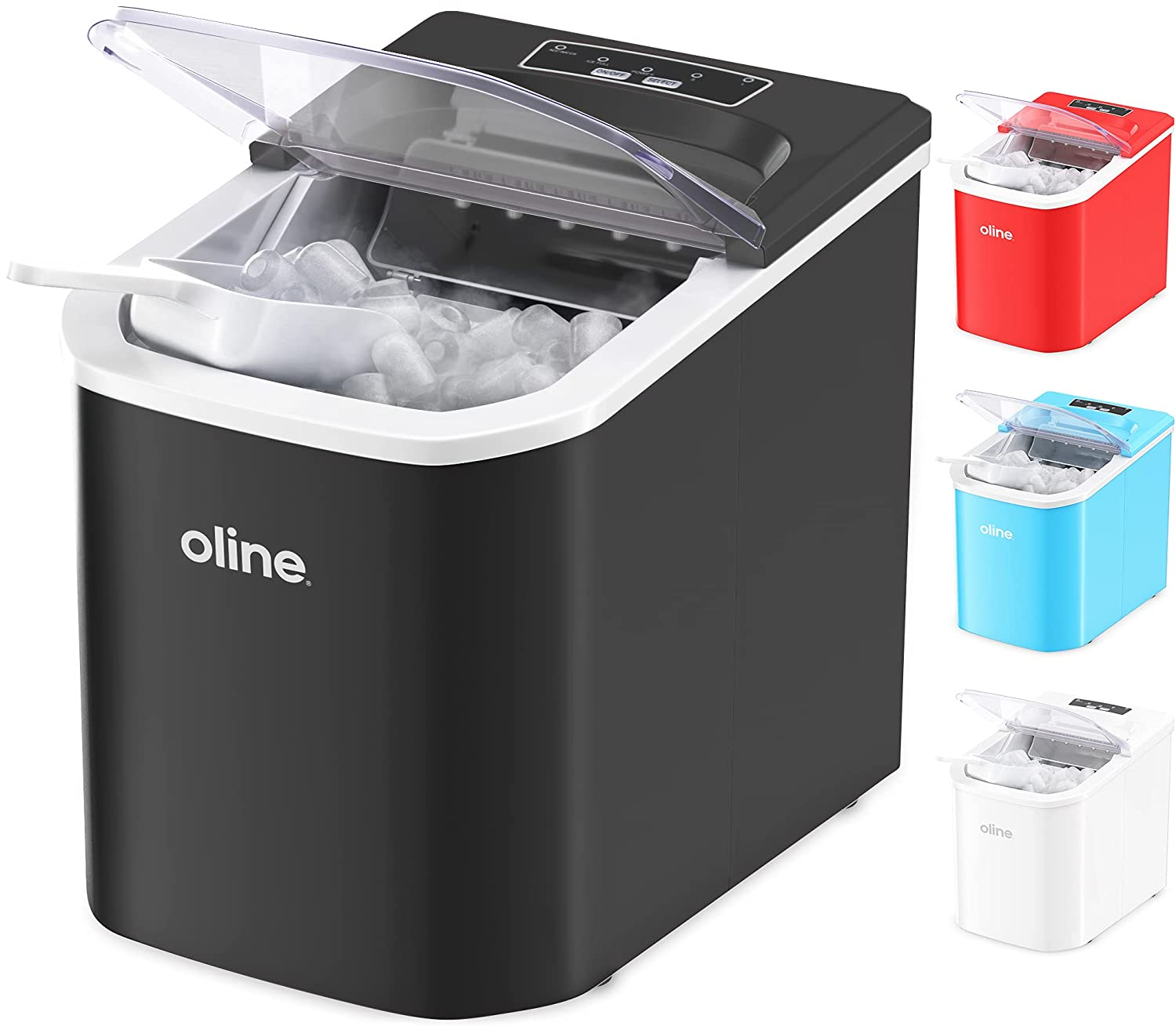 Oline Ice Maker Machine, Automatic Self-Cleaning Portable Electric Countertop Ice Maker, 26 Pounds in 24 Hours, 9 Ice Cubes Ready in 7 Minutes, with Ice Scoop & Basket (Black)