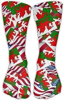ウェールズフラグ付きアメリカ国旗カジュアルソックスクルーソックスクレイジーソックスソフト通気性用女性スポーツアスレチックランニング
