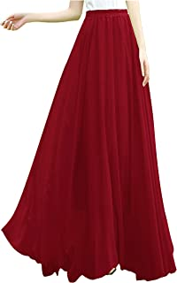 Women Ladies Full/Ankle Length Elastic Retro Maxi Chiffon Long Skirt
