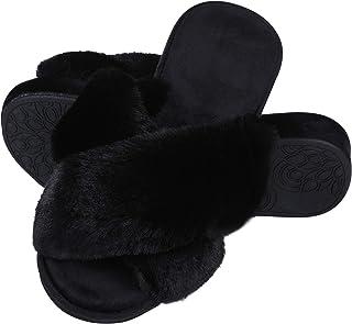 شباشب لتقويم العظام للنساء لدعم أخمص القدم من الفرو الصناعي للاستخدام الداخلي مع إسفنج ذو ذاكرة باللون الأسود، مقاس 91.44 سم