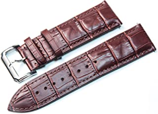 Alligator Grain Leather Watch Band, 16mm 18mm 20mm 22mm 24mm Top Calf Quick Release Replacement Strap for Men Women with Heavy Duty Brushed Buckle