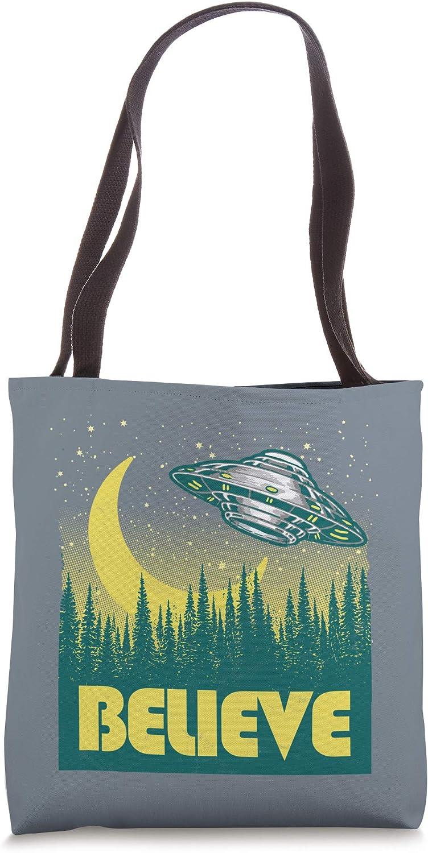 Believe - Vintage UFO Alien Retro Flying Saucer Trees Tote Bag
