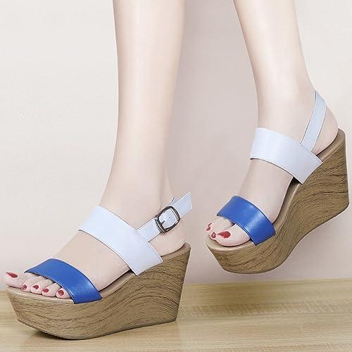 YTTY Pente avec Muffins De Fond épais Sandales De Les Les dames Chaussures Femme De Haute Qualité Chaussures Femme Bleu 38