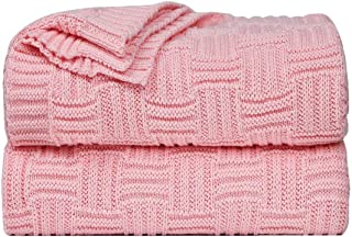 PENCKKnitted Throw Blanket Weave Blanket 100% Cotton SoftLightweight Blankets for Couch Sofa Bed Car Home - Decorative C...