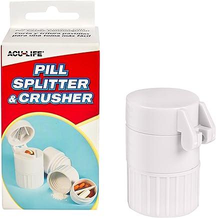 Acu-Life Combo de cortador y triturador de píldoras con almacenamiento de medicamentos integrado