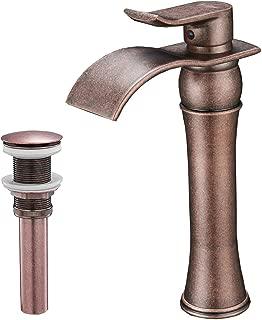 BWE Waterfall Single Handle Hole Lever Bathroom Sink Vessel Faucet Lavatory Faucet Antique Copper Commercial