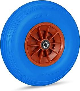 Relaxdays Kruiwagenwiel 4.00-6, massief rubberen wiel met kunststof velg, 3 adapters, reservewiel lekvrij, 100 kg, blauw-rood