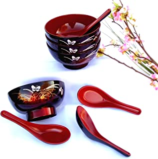 4 Butterfly Lacquer Rice Miso Soup Bowls + 4 Spoons Red/blk NEW
