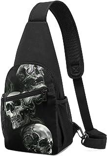 Hdadwy Mochila de honda de calavera en blanco y negro, bolso de hombro de senderismo de viaje, bolso de pecho informal par...