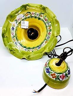 Lampadario diametro 25 centimetri + Coppetta in Tinta Linea Fiori Misti Bordo Verde Ceramica Le Ceramiche del Castello Pez...