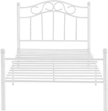 [en.casa] Cadre de Lit avec Matelas LitStandard en Métal Acier Revêtu par Poudre Fritté Blanc 208 cm x 96 cm x 84 cm