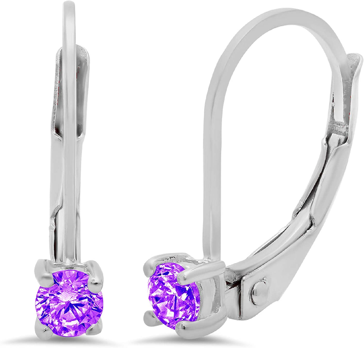 Clara Pucci 0.20 ct Brilliant Round Cut Solitaire VVS1 Flawless Natural Purple Amethyst Gemstone Pair of Lever back Drop Dangle Earrings Solid 18K White Gold