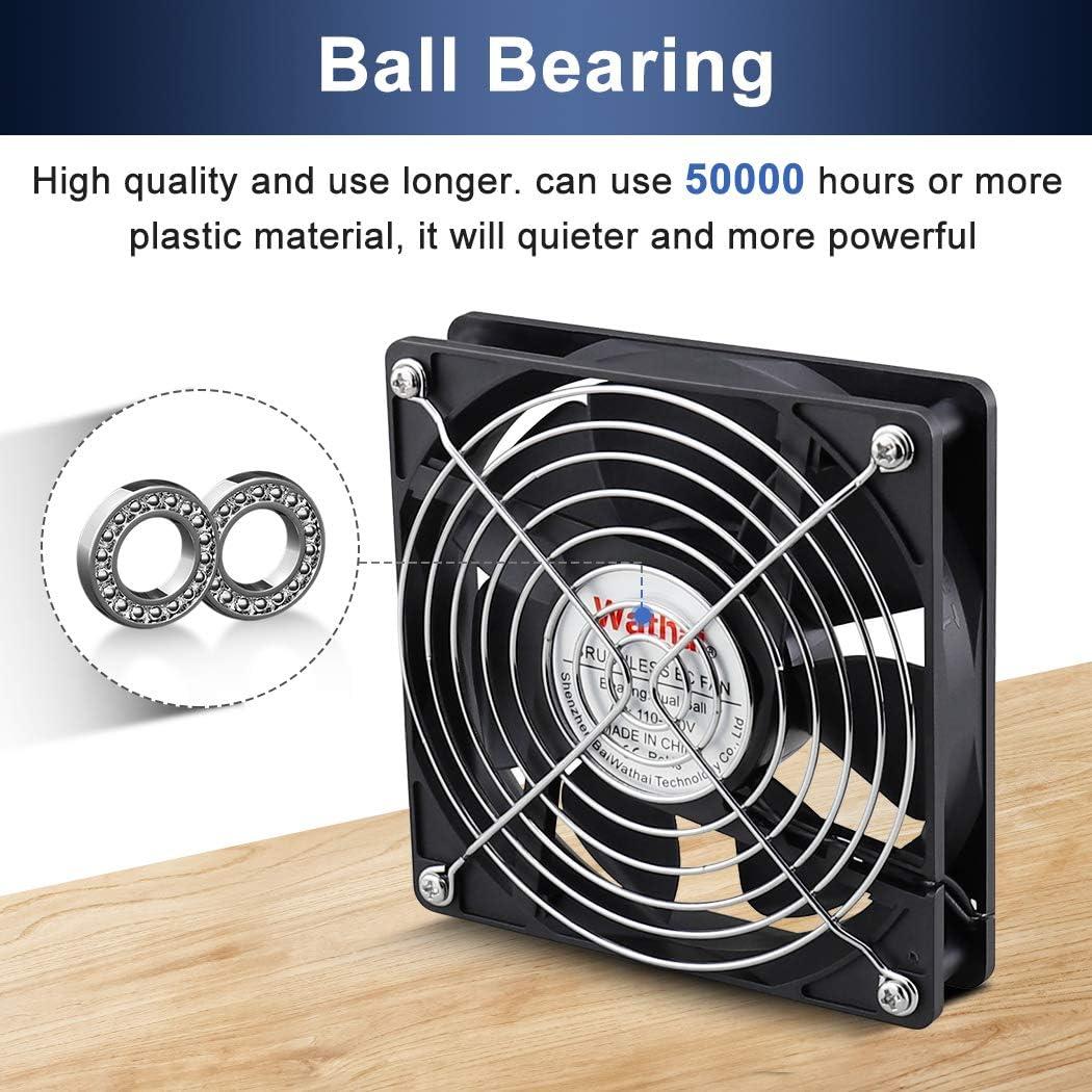 Wathai EC 120mm x 25mm Ball DIY Cooling Ventilation Exhaust Fan 110V 115V 120V 220V 240V AC Axial Case Fan