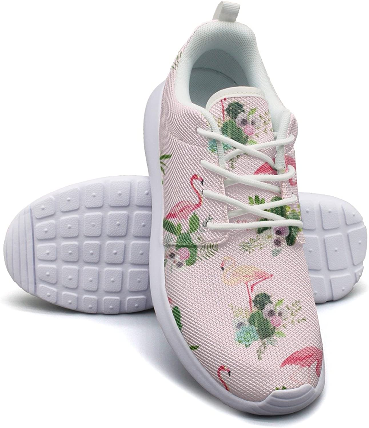Eoyles gy Flamingo Bird and Tropical Cactus Young Women Slip Resistant Lightweight Running Basketball shoes