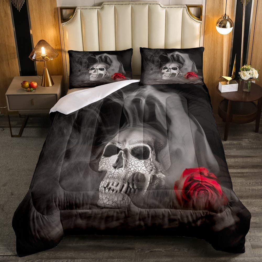 Gothic Fog Smoke Skull Skeleton Quilted Duvet Soft Duvet Insert Room Decorative Grey Bedding Comforters for Young Man Boy Teens Halloween Down Comforter Erosebridal Skull Comforter Set Queen