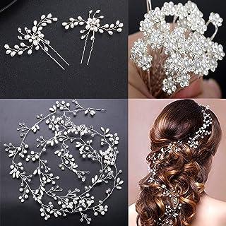 Crystals - Juego de 20 horquillas para el pelo, diseño de flores de cristal, color plateado