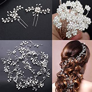 100cm / 39.3in Crystals Bridal Wedding Jewelry Hair Accessories for Women, 1 Pair of Crystal Rhinestone Hair Pins, 20 Pack Pearl Flower Crystal Hair Pins Clips,1 Pack Hair Headpiece Pearl
