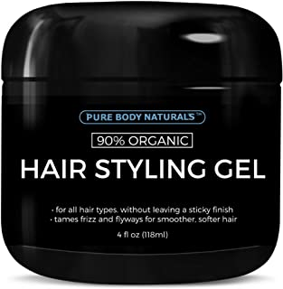 Hair Gel for Men, Natural Ingredients and Chemical Free with Hydrating Aloe For Firm, Healthy Hair by Pure Body Naturals, 4 Fl Ounce