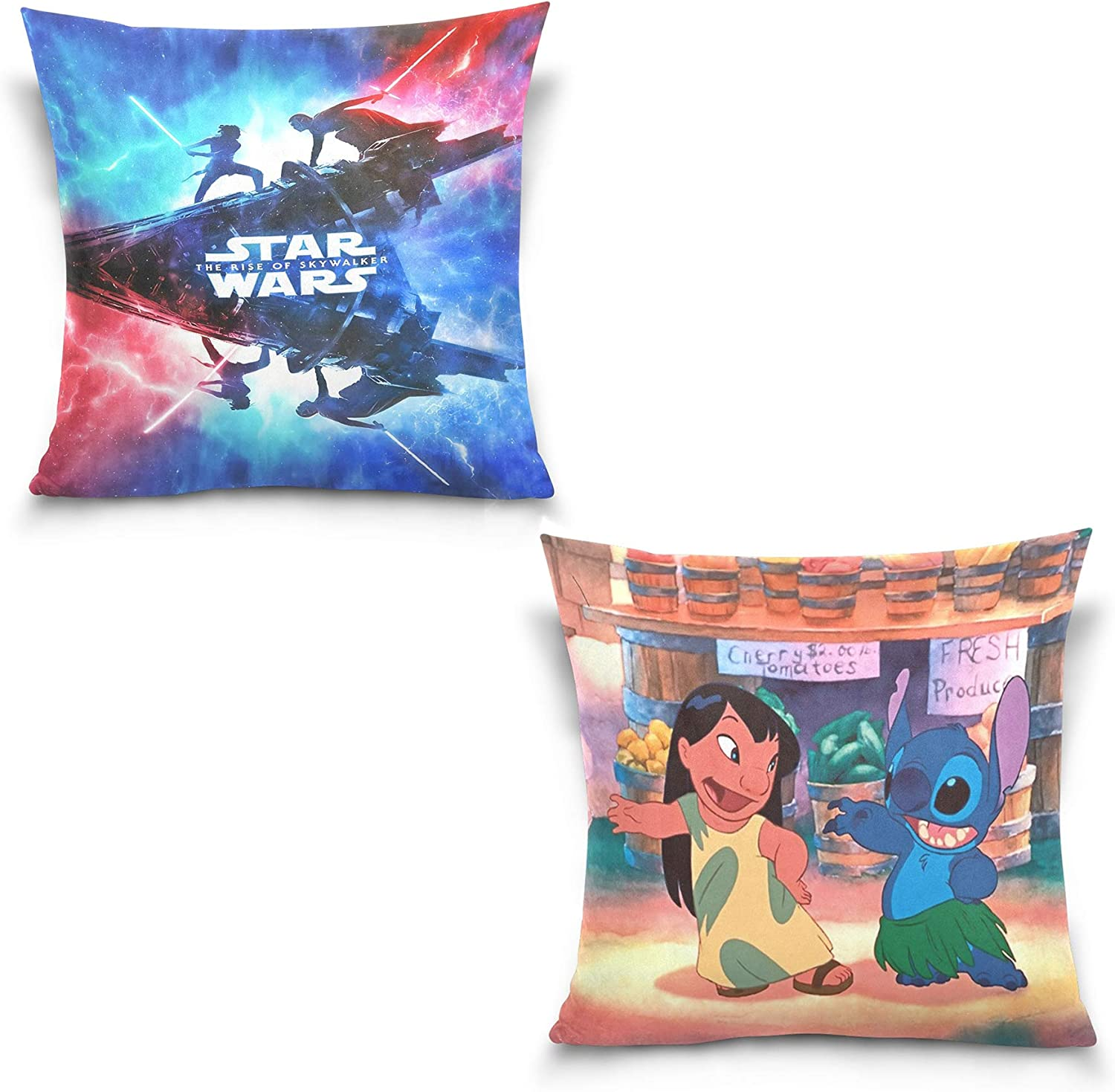 Star Wars JNKPOAI Star Wars Pillowcase 2 Sets of 18x18 Inch for Living Room Sofa Bedroom Car Decoration Supplies Personalized Custom Throw Pillow Covers Suit with Zipper