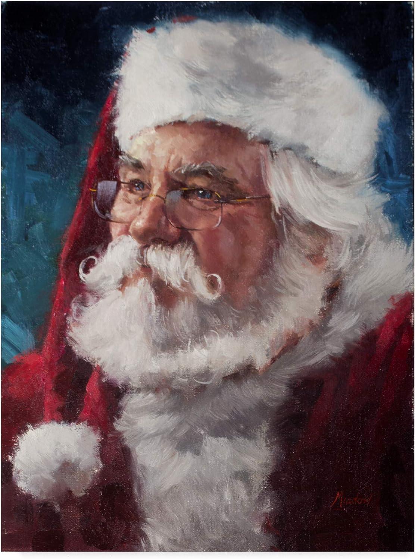 Trademark Fine Art Elderly Santa Portrait by Meadowpaint Wall Decor, 14x19(ALI43516C1419GG)