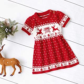 TZOU Baby Girls Knitted Dress with Christmas Series Pattern Decor Short Sleeves Sweater Skirt red 80cm
