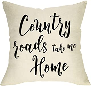 FBCOO Country Roads Take Me Home Quotes Decorative Throw Pillow Cover, Farmhouse Vintage..