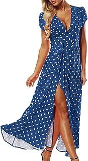 Women Sexy Polka Dot Maxi Dress Summer Beach Sundress Long Wrap Party Dresses
