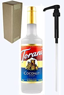Torani Coconut Flavoring Syrup, 750mL (25.4 Fl Oz) Glass Bottle, Individually Boxed, With Black Pump