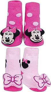 Disney Minnie Mouse Rattle Socks Set - Cotton Blend - One Size Fits Infants
