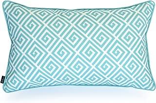 Hofdeco Decorative Lumbar Pillow Cover INDOOR OUTDOOR WATER RESISTANT Canvas Spring Aqua Greek Key 12