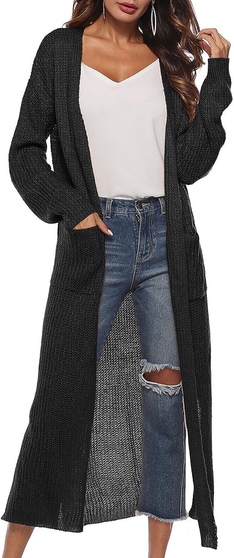 Qianzhi Womens Casual Long Sleeve Split Open Cardigan Knit Long Cardigan Sweaters with Pockets S2XL