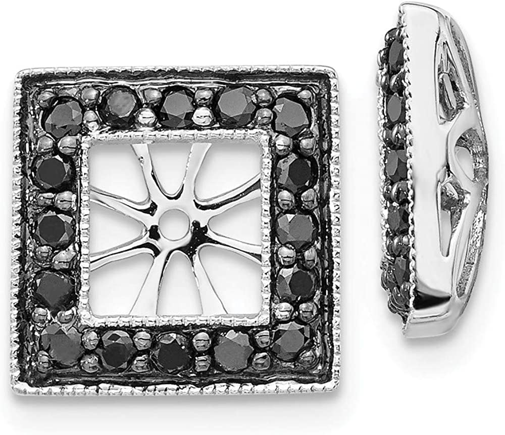 Solid 14K White Gold Black Diamond Square Jacket Earrings 11mm (.48 cttw.)