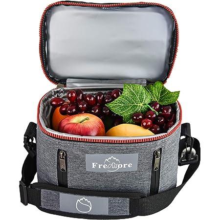 Freshore Insulated Lunch Kit Tasche Slim Box Kleine Taschen für Frauen/Männer 丨 Compact Storage Mahlzeit Prep Container Ice Pack - Crossbody mit Verstellbaren Schultergurt (Dunkelgrau)