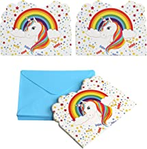 Kesote Conjunto de 24 Tarjetas de Invitación de Unicornio Tarjetas de Invitación para Cumpleaños,Bautiz, 24 Tarjetas + 24 Sobres