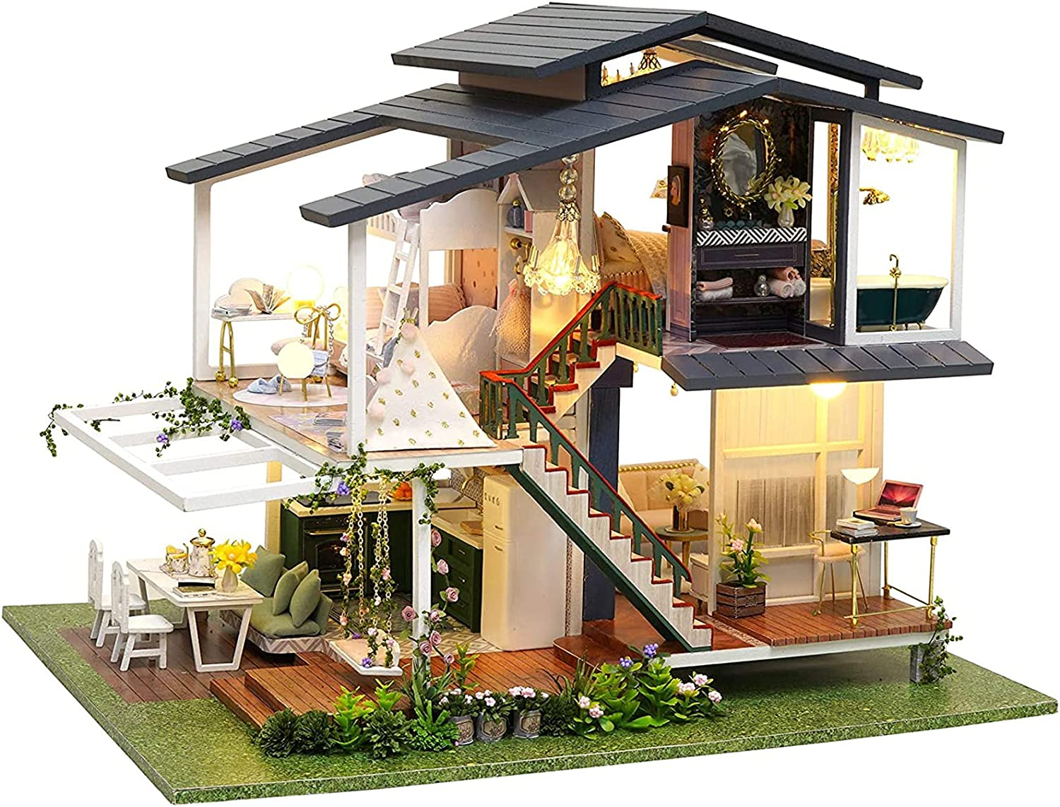 Louisville-Jefferson County Mall PPQQBB Dollhouse Miniature with Max 42% OFF DIY Wooden Furniture