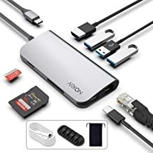 USB C Hub, 8-in-1 Thunderbolt 3 Adapter with 3 USB 3.0 Ports, 4K HDMI, Ethernet Port, SD/TR Card Reader, USB-C Power Delivery, Portable for MacBook Pro 2016/2017/2018 & Other Type-C Laptop