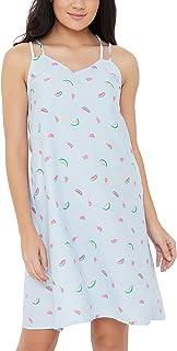 Clovia Women's Fruit Print Night Dress in Blue - Cotton Rich