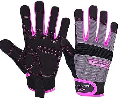 Bundle - 2 Pairs: Rose Pruning Long Gardening Gloves, Mechanic Working Touch Screen Yard Work Gloves for Women - Beige, Pink,
