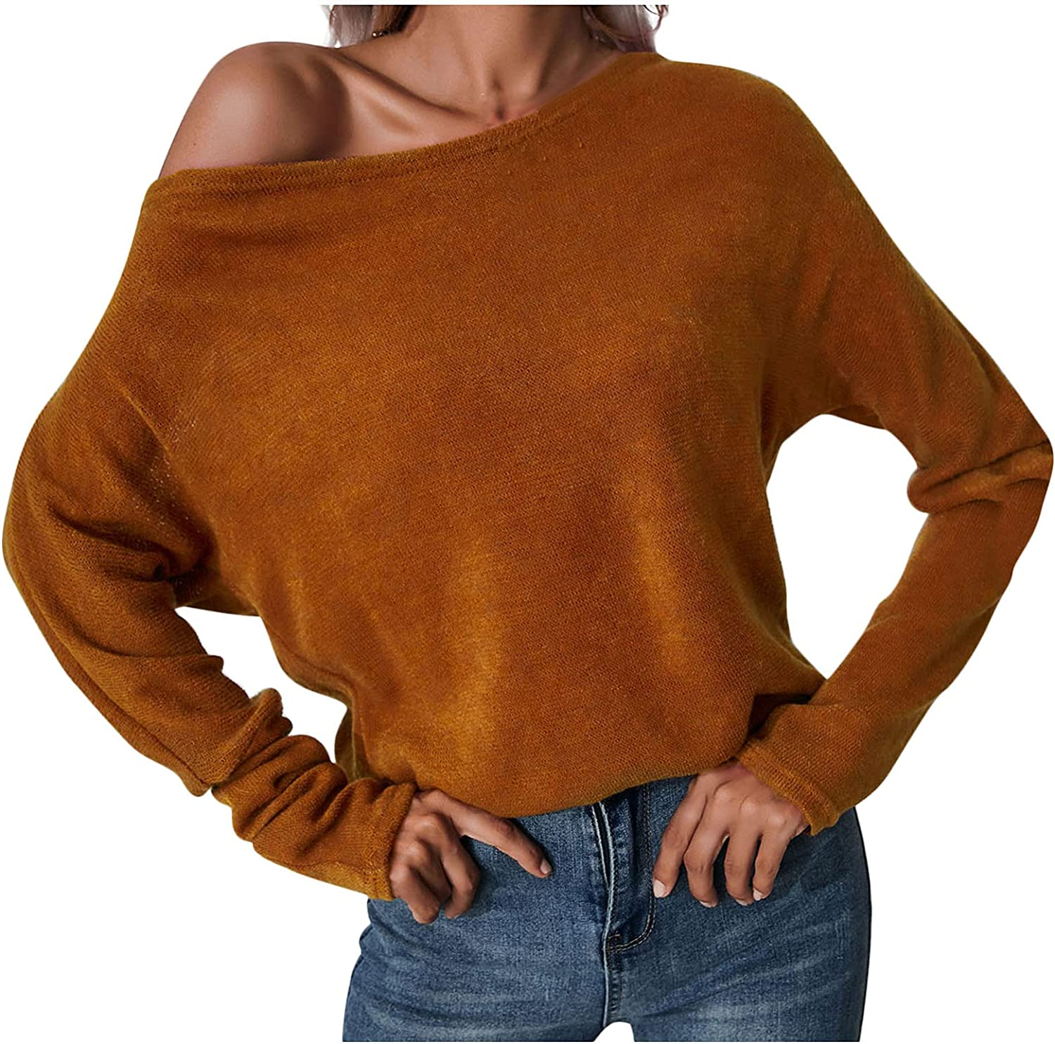 Womens Boat Neck Sweater Sexy Cold Shouldered Long Sleeved Jumper Tops Casual Elegant Solid Color Relaxed Fit Pullovers