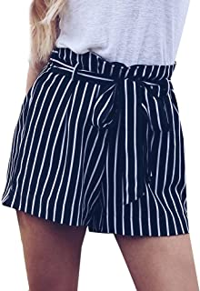 Shorts for Women,Retro Stripe Casual Fit Elastic Waist Pocket Self Tie Pants Hot Sale