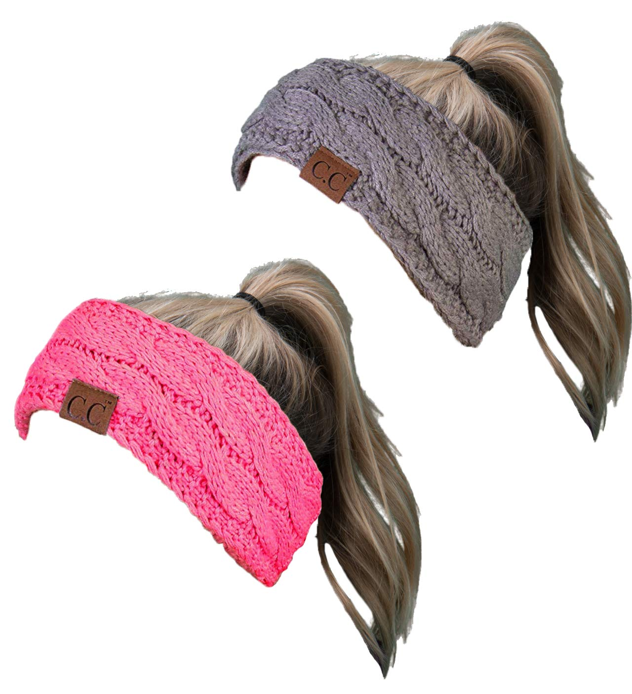 HW-6033-2-20a-7680 Headwrap Bundle - Solid Dove Grey & Candy Pink (2 Pack)