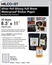 Milcoast Silver Foil Glossy Full Sheet 8.5 x 11 inch Adhesive Tear Resistant Waterproof Photo Craft Paper - for Inkjet/Laser Printers - for Stickers, Labels, Scrapbooks, Arts, Crafts (20 Sheets)