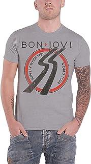 Bon Jovi T Shirt Slippery When Wet European Tour 1986 新しい 公式 メンズ グレー