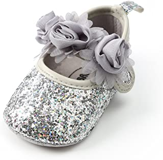 Royal Victory Baby Girl Moccasins Princess Sparkly Premium Lightweight Soft Sole Prewalker Toddler Shoes